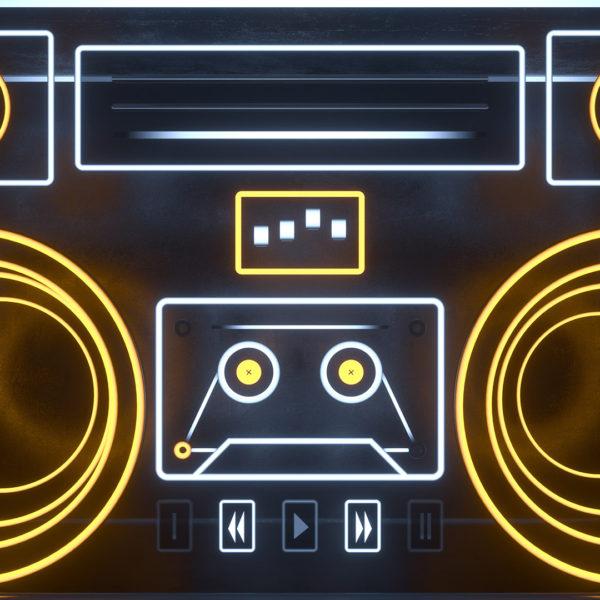 Neon Boombox VJ Loop - Neon Rooms 2 by Ghosteam