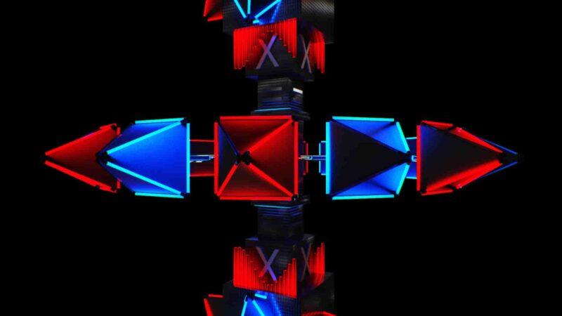 Spinning Neon Pyramids